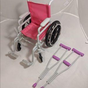 Battat Pink Folding Wheelchair & Crutches Set